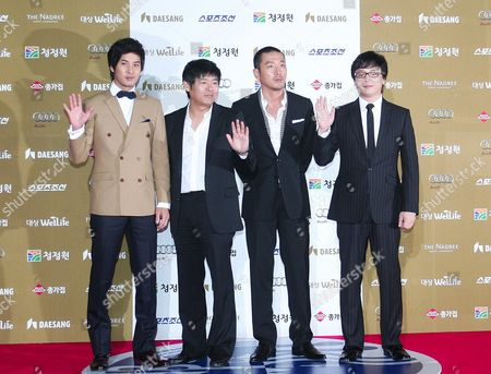Stock Photo of South Korean (l-r) Actors Kim Ji-suk Sung-dong-il and Ha Jung-woo who Performed in the Movie 'Jump 2009' by Director Kim Yong-hwa (r) Arrive For the 30th Blue Dragon Film Awards at the Youido Kbs Hall in Seoul South Korea 02 December 2009 the Blue Dragon ('cheongryong') Awards Are One of the Country's Two Major Film Awards Korea, Republic of Seoul