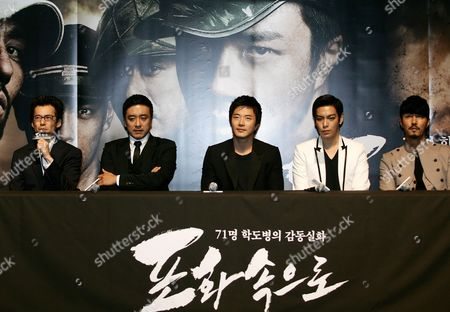 (l-r) South Korean Director Lee Jae-han South Korean Actors and Cast Members (l-r) Kim Seung-woo Kwon Sang-woo Choi Seung-hyun and Cha Seung-won Attend a Press Conference For the Film 'Into the Fire' at the Lotte Cinema in Seoul South Korea 03 June 2010 the Film Will Be Released on 16 June in South Korea Korea, Republic of Seoul