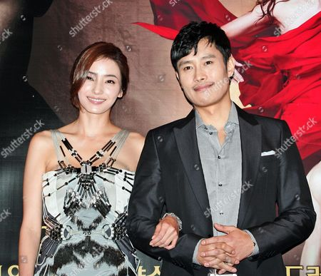 South Korea Actors and Cast Members Han Chae-young (l) and Lee Byung-hun (r) Pose During the Premiere of the Film 'The Influence' at the Apgujeong Cgv in Seoul South Korea 02 March 2010 the Movie by South Korea Director Lee Jae-gyu is an Online Film That Will Premiere Through the Internet on 03 March Korea, Republic of Seoul