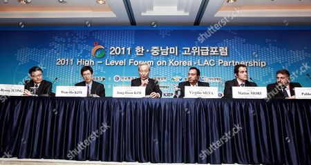 (l-r) Jeong Kye-ryong Director Korewa Eximbank Overseas Economic Research Institute of Korea Kim Won-ho Executive Vice President Korean Council on Latin Amirica & the Caribbean Kim Jong-hoon Vice Minister Minister For Trade Ministry of Foreign Affairs Andtrade of Korea Virgilio Silva Prresident of Epn the Nicaraguan Ports of Nicaragua Matias Mori Executive Vice President Foreign Investment Committee of Chile and Pablo Genta Vice Minister Ministry of Transport and Public Works Oriental of Uruguay Attend the South Korea and Latin America High-level Forum in Seoul South Korea 18 May 2011 the South Korea and Latin America High-level Forum Under the Motto 'Opening New Chapter Toward Co-prosperity' is Being Held on 18-19 May in Seoul Korea, Republic of Seoul