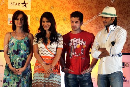 (l-r) Indian Actors Dia Mirza Sophie Choudry Niel Nithin Mukesh and Ritesh Deshmukh Attend a Press Conference During the Indian International Film Academy Awards (iifa) Ceremony in Colombo Sri Lanka 03 June 2010 Bollywood Celebrities Are to Play a Celebrity Cricket Match Against Sri Lanka Cricket Captain Kumar Sangakkara's Team at the Sinhalese Sports Club (ssc) Grounds on 04 June to Raise Funds For Reintegrating Former Child Soldiers Into Their Communities a Unicef Initiative 'Cricket For Children' Will Receive the Major Part of the Proceeds the Iifa Running From 03 to 05 June is Being Held in the Island Nation As a Tourism Promotion Event Sri Lanka Colombo