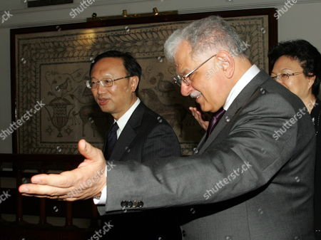 Tunisian Foreign Affairs Minister Kamel Morjane (r) Welcomes His Chinese Counterpart Yang Jiechi (l) Upon His Arrival in Tunis Carthage Airport on May 17 2010 Jiechi is on a Two-day Official Visit to Tunisia on the Invitation of Morjane Tunisia Tunis