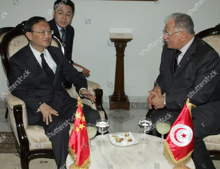 Tunisian Foreign Affairs Minister Kamel Morjane (r) Meets His Chinese Counterpart Yang Jiechi (l) Upon the Latter's Arrival in Tunis on May 17 2010 Jiechi is on a Two-day Official Visit to Tunisia on the Invitation of Morjane Tunisia Tunis