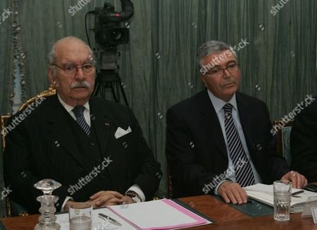 Tunisian Interim President Fouad Mebazaa (l) and Tunisian Minister of Defence Abdelkarim Zebidi (r) Attend a Cabinet Meeting on 01 February 2011 at the Government Palace in Tunis Tunisia It was the First Meeting of Prime Minister Mohammed Ghannouchi's Government Since It was Reshuffled on 27 January at Least 219 People Died During and in the Immediate Aftermath of Tunisia's Month-long Uprising Which Culminated in the Ouster of Autocratic Leader Zine El-abidine Ben Ali the United Nations Said Tunisia Tunis