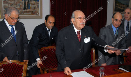A Photograph Made Available on 21 January 2011 Showing Tunisian Minister of Industry and Technology Afif Chalbi (r) Tunisian Defense Minister Ridha Grira (2-r) Tunisian Interim President Fouad Mebazaa (c) and Tunisian Foreign Affairs Minister Kamel Morjane (l) Attend the First Ministers Council in the Government Palace in Tunis Tunisia 21 January 2011 Reports State That the New Interim Government Has Faced Continuing Protests Against Mr Ben Ali's Rcd Party Remaining in Office It Has Confirmed It Will Recognise Banned Political Groups and Provide an Amnesty For Political Prisoners the Announcement Came As the Government Held Its First Cabinet Meeting Tunisia Tunis