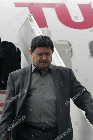 Libyan Deputy Foreign Minister Abdelati Obeidi Upon His Arrival at Tunis Carthage Airport in Tunis Tunisia 27 April 2011 Labidi who Took Over From Moussa Koussa who Had Resigned From the Libyan Government a Few Weeks Earlier Met on 27 April with the Tunisian Foreign Minister Mouldi Kefi Tunisia Tunis