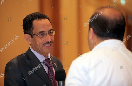 Abdul Hafiz Ghoga (l) Vice Chairman of the Libyan Rebels National Provisional Council Speaks to Media Before the Third Meeting of the International Contact Group For Libya Which is Held at the Emirates Palace Hotel in Abu Dhabi United Arab Emirates on 09 June 2011 More Than 20 Foreign Ministers and Representatives of Regional and International Organizations Attend the Meeting Including the Gulf Cooperation Council the Arab League the Organization of the Islamic Conference the United Nations the African Union the European Union and Nato the Contact Group's Meeting Assess the International Engagement with Libya and Review Further Action to Implement United Nations Security Council Resolutions 1970 and 1973 the Contact Group is Also Expected to Discuss the Best Modality to Support the Transitional National Council As Well As to Further Coordinate International Efforts to Support the Libyan People United Arab Emirates Abu Dhabi