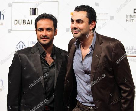 Egyptian Actors Mohamed Ragab (l)and Mohamed Karim (r) Pose on Arrival at the 7th Dubai International Film Festival 2010 (diff) in Dubai United Arab Emirates 16 December 2010 Diff Runs From 12 Until 19 December 2010 United Arab Emirates Dubai