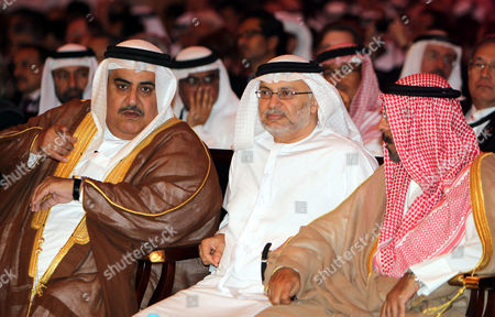 (l-r) Bahrain's Foreign Minister Sheikh Khalid Bin Ahmed Al-khalifa Uae's State Minister For Foreign Affairs Anwar Mohammed Qarqash and Kuwait's Foreign Minister Sheikh Mohammad Sabah Al-salem Al-sabah Attend the Opening of Global Anti-piracy Conference in the Gulf Emirate of Dubai United Arab Emirates 18 April 2011 the Two-day Conference to Tackle Maritime Piracy Has Opened in Dubai As Attacks Hit Record Numbers Despite International Naval Efforts to Stem the Activity the Conference is Attended by Shipping Industry Leaders Foreign Ministers and Independent Experts United Arab Emirates Dubai
