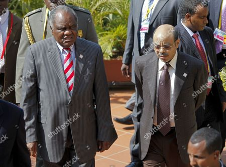 President of Namibia Hifikepunye Pohamba (l) and Prime Minister of Ethiopia Meles Zenawi (r) Arrive at a Meeting During the 15th African Union Summit in Kampala Uganda 27 July 2010 Three-day Meeting of the African Leaders Will End on 27 July Uganda Kampala