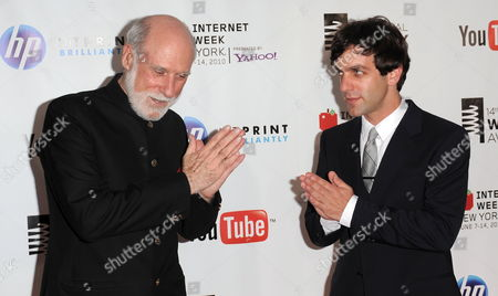 Computer Scientist Vinton Cerf (l) of the Us who is Credited with Helping to Invent the Internet and Actor B J Novak (r) of the Us Arrive For the 14th Annual Webby Awards Which Honor Excellence on the Internet in New York New York Usa on 14 June 2010 United States New York