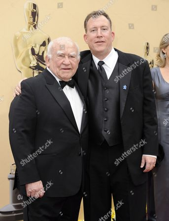 Us Actor Ed Asner (l) and His Son Matthew (r) Arrive on the Red Carpet For the 82nd Academy Awards at the Kodak Theatre in Hollywood California Usa 07 March 2010 the Academy Awards Honor Excellence in Cinema United States Hollywood