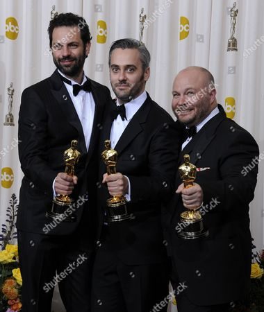(l-r) Producers Emile Sherman Iain Canning and Gareth Unwin Hold Their Oscars For Best Picture For 'The King's Speech' During the 83rd Annual Academy Awards at the Kodak Theatre in Hollywood California Usa 27 February 2011 the Oscars Are Presented For Outstanding Individual Or Collective Efforts in Up to 25 Categories in Filmmaking United States Hollywood
