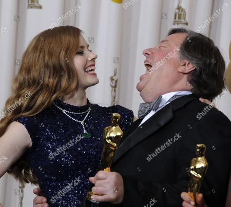 Us Actress Amy Adams Shares a Laugh with Us Director/producer Kirk Simon After He Won an Oscar For Best Documentary Short Subject For Strangers No More at the 83rd Annual Academy Awards at the Kodak Theatre in Hollywood California Usa 27 February 2011 the Oscars Are Presented For Outstanding Individual Or Collective Efforts in Up to 25 Categories in Filmmaking United States Hollywood