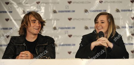 Stock Image of Sixteen-year-old Us Sailor Abby Sunderland (r) with Her Brother Zac (l) 18 by Her Side Talks of Her Sailing Accident Which Cut Short Her Attempt to Be the Youngest Person to Sail Around the World at a Press Conference in Marina Del Rey California 29 June 2010 Sunderland Set Sail on 23 January 2010 and Her Boat Capsized and Her Mast was Broken by a Rogue Wave on 10 June 2010 in the Indian Ocean She was Rescued Two Days Later by a French Fishing Vessel United States Marina Del Rey