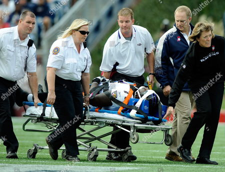 Baltimore Ravens Offensive Tackle Jared Gaither is Wheeled Off of the Field After Being Injured in the Second Quarter Against the New England Patriots at Gillette Stadium in Foxborough Massachusetts Usa 04 October 2009 United States Foxborough