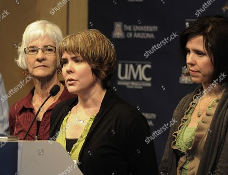 Crissi Blake (c) the Daughter of Shooting Victim Ronald Barber Accompanied by Her Sister Jenny Douglas (r) and Mother Nancy Blake (l) Talks to the Press About Her Father's Injury at the University Medical Center in Tucson Arizona Usa 12 January 2011 where He is Being Treated Alleged Gunman Jared Loughner Killed 6 People and Wounded 15 Others in a Shooting Rampage in a Shopping Center where Congresswoman Gabrielle Giffords was Meeting with Constituents United States Tucson