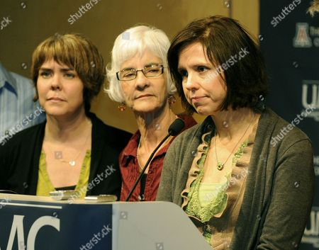 Jenny Douglas (r) the Daughter of Shooting Victim Ronald Barber is Joined by Family Member Crissi Blake (l) and Mother Nancy Barber (c) As She Talks to the Press About Her Father's Injury at the University Medical Center in Tucson Arizona Usa 12 January 2011 where He is Being Treated Alleged Gunman Jared Loughner Killed Six People and Wounded 15 Others in a Shooting Rampage in a Shopping Center in Tucson on 08 January 2011 where Us Congresswoman Gabrielle Giffords was Meeting with Constituents United States Tucson