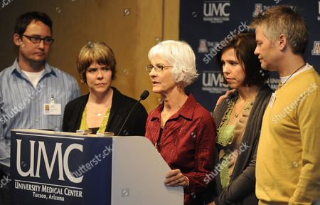 Nancy Barber (c) Wife of Shooting Victim Ronald Barber is Joined by Family Members Jason Blake (l) Crissi Blake (2-l) Jenny Blake Jenny Douglas (2-r) and Gawain Douglas (r) As She Talks to the Press About Her Father's Injury at the University Medical Center in Tucson Arizona Usa 12 January 2011 where He is Being Treated Alleged Gunman Jared Loughner Killed Six People and Wounded 15 Others in a Shooting Rampage in a Shopping Center in Tucson on 08 January 2011 where Us Congresswoman Gabrielle Giffords was Meeting with Constituents United States Tucson