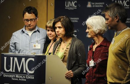 Jenny Douglas (c) the Daughter of Shooting Victim Ronald Barber is Joined by Family Members Jason Blake (l) Crissi Blake (2-l) Jenny Blake Nancy Barber (2-r) and Gawain Douglas (r) As She Talks to the Press About Her Father's Injury at the University Medical Center in Tucson Arizona Usa 12 January 2011 where He is Being Treated Alleged Gunman Jared Loughner Killed Six People and Wounded 15 Others in a Shooting Rampage in a Shopping Center in Tucson on 08 January 2011 where Us Congresswoman Gabrielle Giffords was Meeting with Constituents United States Tucson