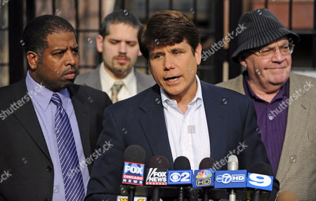 Impeached and Indicted Former Illinois Governor Rod Blagojevich (2-r) Stands with Jason Wallace (l) Attorney Aaron Goldstein (2-l) and Attorney Sam Adams (r) As He Speaks at a Sidewalk News Conference in Chicago Illinois 20 April 2010 Blagojevich Called Upon Federal Prosecutors to Allow Into Evidence All the Recordings They Claim to Have on Him Which He Claims Will Show He Did Nothing Wrong Blagojevich is Scheduled to Go to Trial in June to Face Charges Related to Accusations That He Tried to Sell the U S Senate Seat Formerly Held by President Barack Obama United States Chicago