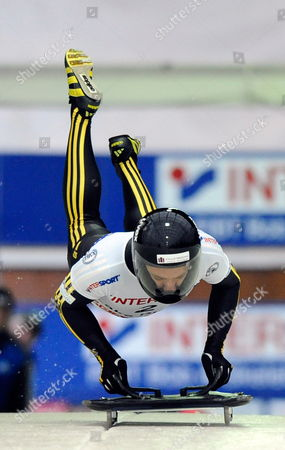 Michi Halilovic of Germany During the First Heat of the Men's Skeleton Competition During the Fibt World Cup Bobsleigh and Skeleton Championships Held at the Olympic Sports Complex Track at Mt Van Hoevenberg in Lake Placid New York Usa 20 November 2009