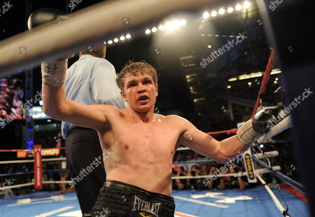 A Dazed Yuri Foreman of the United States Tries to Pick Himself Up From the Canvas in His Fight Against Miguel Cotto of Puerto Rico During Their Wba World Super Welterweight Title Fight at Yankees Stadium in the Bronx New York Usa on 05 June 2010 Cotto Won by a Technical Knockout in the 9th Round United States Bronx