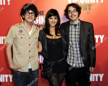 Stock Photo of Us Actors and Cast Members Matt Bennett (l) Sunny Leone (c) and Justin Kline (r) Arrive For a Special Screening of 'The Virginity Hit' in Los Angeles California Usa 07 September 2010 'The Virginity Hit' is the Story of Four Guys with a Camera Chronicilling Their Experience of Losing Their Virginity United States Los Angeles