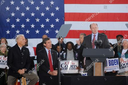 Democratic Candidate For Senate Chris Coons (r) of Delaware Delivers Remarks Beside Democratic Candidate For the House of Representatives John Carney (c) of Delaware and Us Vice President Joe Biden (l) at a Rally For Democratic Candidates on the Eve of Midterm Elections in Wilmington Delaware Usa 01 November 2010 United States Wilmington