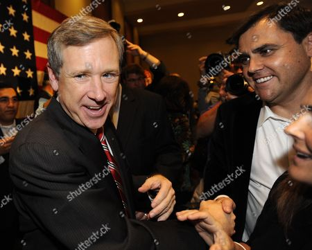 Republican Us Representative From Illinois and Candidate For the Us Senate Mark Kirk (l) Celebrates His Win Over Democratic Challenger Alexi Giannoulias in Wheeling Illinois Usa 02 November 2011 Mid-term Elections Are Being Held Across the United States with Many Highly Contested Races That Could Threaten the Political Futures of Numerous Incumbents As Well As Change the Balance in the Senate and House of Representatives United States Wheeling