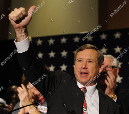 Republican Us Representative From Illinois and Candidate For the Us Senate Mark Kirk Celebrates His Win Over Democratic Challenger Alexi Giannoulias in Wheeling Illinois Usa 02 November 2011 Mid-term Elections Are Being Held Across the United States with Many Highly Contested Races That Could Threaten the Political Futures of Numerous Incumbents As Well As Change the Balance in the Senate and House of Representatives United States Wheeling