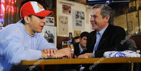 Stock Photo of Us Senator Elect Mark Kirk of Illinois (r) Gets Together with His Democratic Opponent Alexi Giannoulias (l) For a Beer and a Burger at the Billy Goat Tavern in Chicago Illinois Usa 03 November 2010 Kirk and Giannoulias Held Hard Fought Campaigns with Numerous Accusations and Allegations Hurled in Both Directions the Get-together was Offered by Kirk in His Acceptance Speech on 02 November After Giannoulias Conceded Defeat United States Chicago