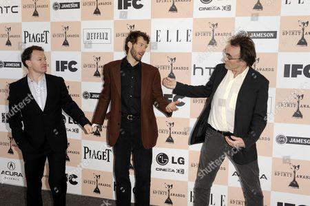 Uk Writer Simon Beaufoy (l) Us Writer Aron Ralston (c) and Uk Director Danny Boyle (r) Arrive For the 26th Annual Film Independent Spirit Awards in Santa Monica California Usa 26 February 2011 United States Santa Monica
