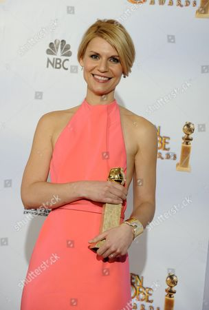 Us Actress Claire Danes Holds Up Her Award For Best Performance by an Actress in a Mini-series Or Motion Picture Made For Television For 'Temple Grandin' in the Press Room at the 68th Golden Globe Awards Held at the Beverly Hilton Hotel in Los Angeles California Usa 16 January 2011 United States Los Angeles