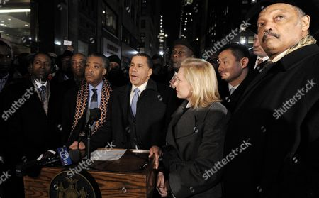 New York Governor David Patterson (3rd L) Speaks While Standing with Rev Jesse Jackson (r) Us Senator Kirsten Gillibrand (2d R) Democrat-ny and Rev Al Sharpton (2nd L) During a Press Conference in Reaction to the Massive Earthquake in Haiti in New York New York Usa 13 January 2010 Haitian President Rene Preval Said 13 January Estimates of the Death Toll in the Devastating Earthquake in Capital Port-au-prince Could Easily Be in the Tens of Thousands While Other Officials Said More Than 100 000 May Have Perished United States New York