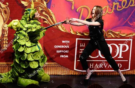 Actress Anne Hathaway Slays a Dragon Played by Kyle Dancewicz (l) During the Roast Portion of the 2010 Hasty Pudding Theatricals Woman of the Year Award Ceremony in Cambridge Massachusetts Usa 28 January 2010 the Woman of the Year Award is Presented Annually to a Performer who Has Made a 'Lasting and Impressive Contribution to the World of Entertainment ' and Hathaway Joins Other Past Honorees Including Meryl Streep Katharine Hepburn Julia Roberts Jodie Foster Meg Ryan and Most Recently Renee Zellwegger United States Cambridge