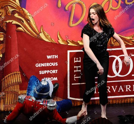 Actress Anne Hathaway Tosses a Prince Played by Mike Blumenthal (l) to the Stage Floor During the Roast Portion of the 2010 Hasty Pudding Theatricals Woman of the Year Award Ceremony in Cambridge Massachusetts Usa 28 January 2010 the Woman of the Year Award is Presented Annually to a Performer who Has Made a 'Lasting and Impressive Contribution to the World of Entertainment ' and Hathaway Joins Other Past Honorees Including Meryl Streep Katharine Hepburn Julia Roberts Jodie Foster Meg Ryan and Most Recently Renee Zellwegger United States Cambridge