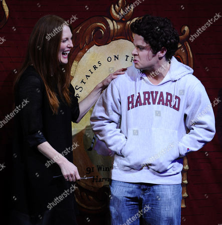 Stock Picture of Us Actress Julianne Moore (l) and a Hasty Pudding Theatricals Cast Members Portraying Former Harvard Student Mark Zuckerberg (r) During the Roast Session of the 2011 Hasty Pudding Theatricals Woman of the Year Award Presentation in Cambridge Massachusetts Usa 27 January 2011 the Woman of the Year Award is Presented Annually to a Performer who Has Made a 'Lasting and Impressive Contribution to the World of Entertainment and Hathaway Joins Other Past Honorees Including Meryl Streep Katharine Hepburn Julia Roberts Jodie Foster Meg Ryan and Most Recently Anne Hathaway United States Cambridge