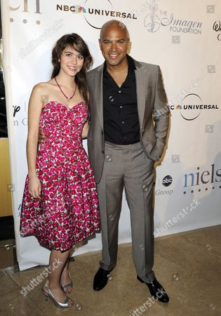 Mexican Actress Tess Ia (l) and Us Actor Philip Anthony-rodriguez (r) Arrive For the Imagen Awards in Beverly Hills California Usa 15 August 2010 the Imagen Awards Celebrates and Honors the Accomplishments of Latinos in the Entertainment Industry United States Beverly Hills