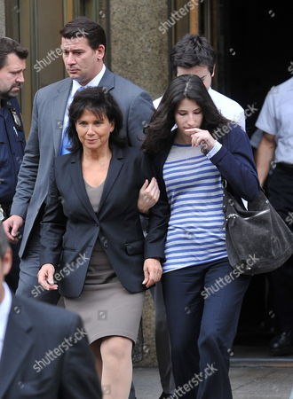 Stock Photo of Former Head of the International Money Fund Dominique Strauss-khan's Wife Anne Sinclair (l) and Her Daughter Camille Strauss-kahn (r) Leave Manhattan Criminal Court 19 May 2011 in New York Strauss-kahn the Former Head of the International Money Fund Faced Arraignment 19 May on Charges of Attempted Rape and Criminal Sexual Contact in the Alleged Attack on a Maid who Went Into His Penthouse Suite at a Hotel Near Times Square on Saturday United States New York