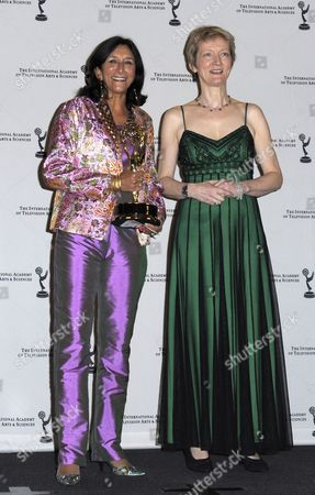 Executive Producer Sita Williams (l) and Script Executive Roxy Spencer (r) Pose After Winning the Emmy For Drama Series 'The Street' at the the 38th International Emmy Awards at the Hilton Hotel in New York City Usa on 22 November 2010 United States New York