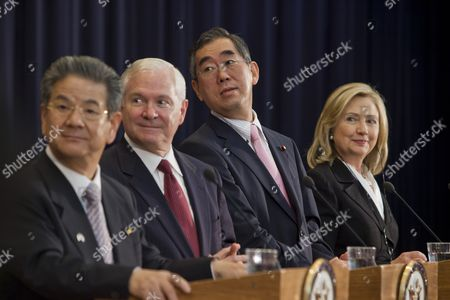 (l-r) Japanese Defense Minister Toshimi Kitazawa Us Defense Secretary Robert Gates Japanese Foreign Minister Takeaki Matsumoto and Us Secretary of State Hillary Clinton Hold a Joint Media Availability After a Us-japan Security Consultive Committee Meeting at the State Department in Washington Dc Usa 21 June 2011 United States Washington