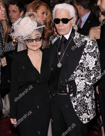 Stock Picture of Musician Yoko Ono (l) and Designer Karl Largerfeld (l) of Germany Arrive For the Annual Costume Institute Gala Benefit at the Metropolitan Museum of Art in New York New York Usa 02 May 2011 the Met Gala 2011 Celebrates the Late British Fashion Designer Alexander Mcqueen and the Opening of the Exhibition 'Alexander Mcqueen: Savage Beauty' Which Runs From 04 May to 31 July 2011 United States New York