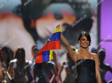 Miss Universe 2009 Stefania Fernandez Raises the Venezuelan Flag During the 2010 Miss Universe Pageant at the Mandalay Bay Resort and Casino in Las Vegas Nevada Usa 23 August 2010 Eighty-three National Titleholders Are Competing For the Title of Miss Universe 2010 United States Las Vegas