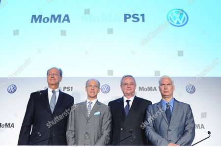 From L-r Hans Dieter Potsch Member of the Board Volkswagen Group Finances and Controlling Glenn Lowry the Director of the New York Museum of Modern Art (moma) Martin Winterkorn (r) Ceo of Volkswagen and Klaus Biesenbach Director Moma Ps1 and Chief Curator at Large Moma at a News Conference Announcing a New Partnership Between Volkswagen the Museum of Modern Art and Moma Ps1 in New York New York Usa 23 May 2011 the Prime Focus of the Strategic Partnership Lies in the Project with the Working Title 'International Discovery' the Development of an International Contemporary Art Exhibition Further Pillars of the Partnership Are the Extension of the Moma Online Education Program the Donation of Two Works by Francis Alªs and the Sponsorship of a Series of Installations in the Abby Aldrich Rockefeller Sculpture Garden Epa/andrew Gombert United States New York