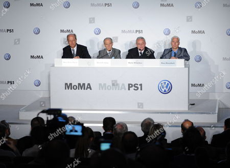 From L-r Hans Dieter Potsch Member of the Board Volkswagen Group Finances and Controlling Glenn Lowry the Director of the New York Museum of Modern Art (moma) Martin Winterkorn (r) Ceo of Volkswagen and Klaus Biesenbach Director Moma Ps1 and Chief Curator at Large Moma at a News Conference Announcing a New Partnership Between Volkswagen the Museum of Modern Art and Moma Ps1 in New York New York Usa 23 May 2011 the Prime Focus of the Strategic Partnership Lies in the Project with the Working Title 'International Discovery' the Development of an International Contemporary Art Exhibition Further Pillars of the Partnership Are the Extension of the Moma Online Education Program the Donation of Two Works by Francis Alªs and the Sponsorship of a Series of Installations in the Abby Aldrich Rockefeller Sculpture Garden United States New York