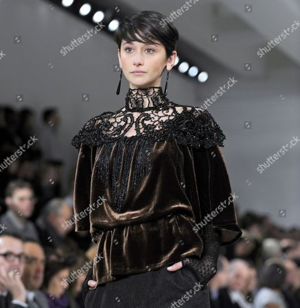Stock Picture of Argentine Model Cecilia Mendez Presents a Creation by Ralph Lauren During the Fall 2010 Mercedes-benz Fashion Week in New York City New York Usa 18 February 2010 the Fashion Week Runs From 11 to 18 February United States New York