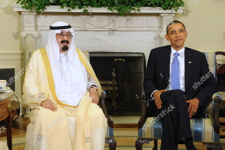 Stock Image of Us President Barack Obama (r) Holds a Meeting with King Abdullah Bin Abd Al-aziz Al Saud (l) of Saudi Arabia in the Oval Office of the White House in Washington Dc Usa 29 June 2010 United States Washington