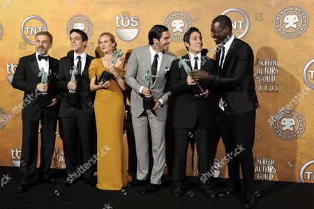 Stock Image of Austrian Actor Christoph Waltz (l-r) Us Actor B J Novak German Actress Diane Kruger Us Actor Eli Roth Us Actor Omar Doom and Burkina Faso-born Actor Jacky Ido Pose Backstage After the Cast of 'Inglourious Basterds' Won the Award For Outstanding Performance by a Cast in a Motion Picture at the 16th Annual Screen Actors Guild Awards at Shrine Auditorium in Los Angeles California Usa 23 January 2010 the Screen Actors Guild Honors Excellence in Five Film and Eight Prime Time Television Categories United States Los Angeles