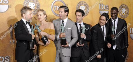 Austrian Actor Christoph Waltz (l-r) German Actress Diane Kruger Us Actor Eli Roth Us Actor B J Novak Us Actor Omar Doom and Burkina Faso-born Actor Jacky Ido Pose Backstage After the Cast of 'Inglourious Basterds' Won the Award For Outstanding Performance by a Cast in a Motion Picture at the 16th Annual Screen Actors Guild Awards at Shrine Auditorium in Los Angeles California Usa 23 January 2010 the Screen Actors Guild Honors Excellence in Five Film and Eight Prime Time Television Categories United States Los Angeles